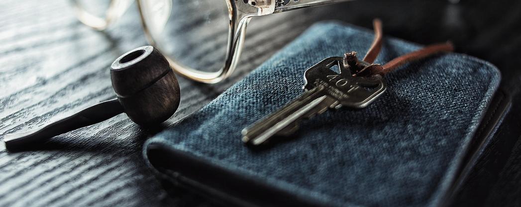 Schlüssel auf Mäppchen